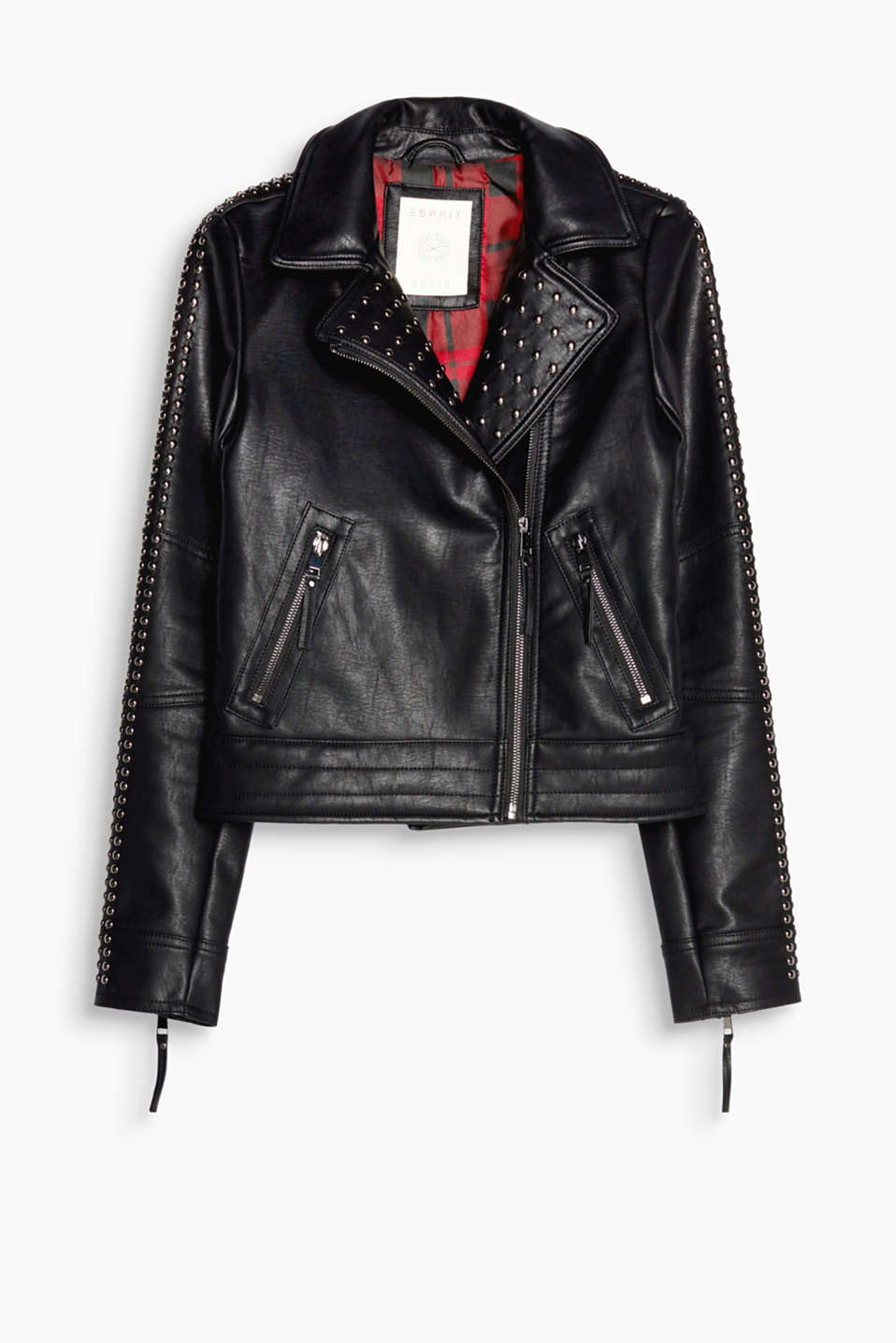 Punk-inspired style with decorative studs: faux leather biker jacket with a wide lapel and an asymmetric zip
