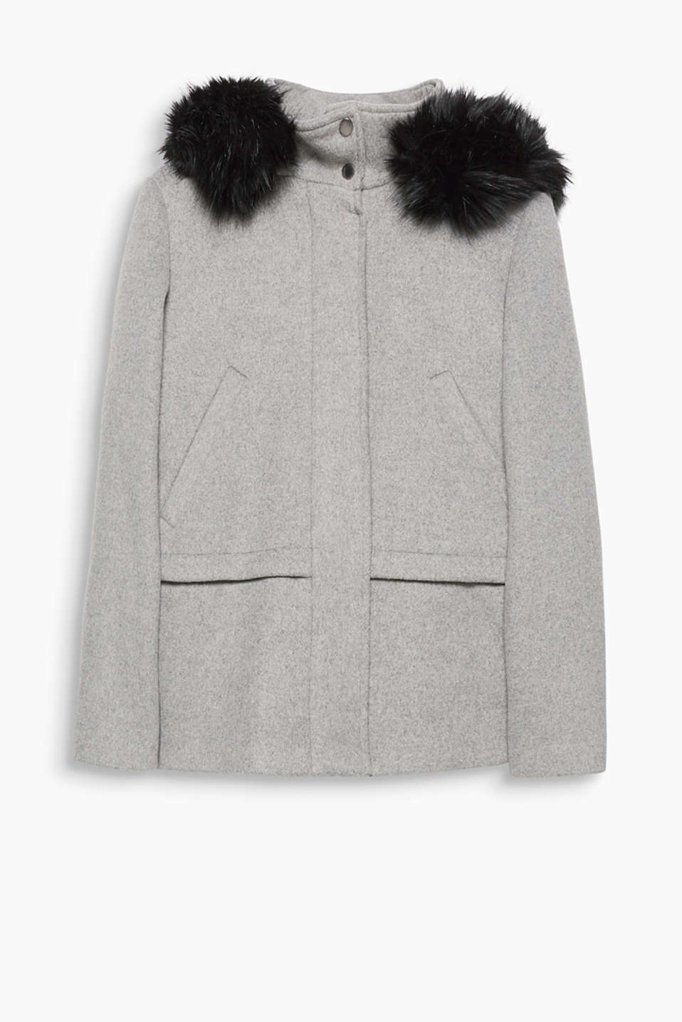 Soft and sophisticated: melange jacket in snug blended wool with a hood and lush faux fur trim