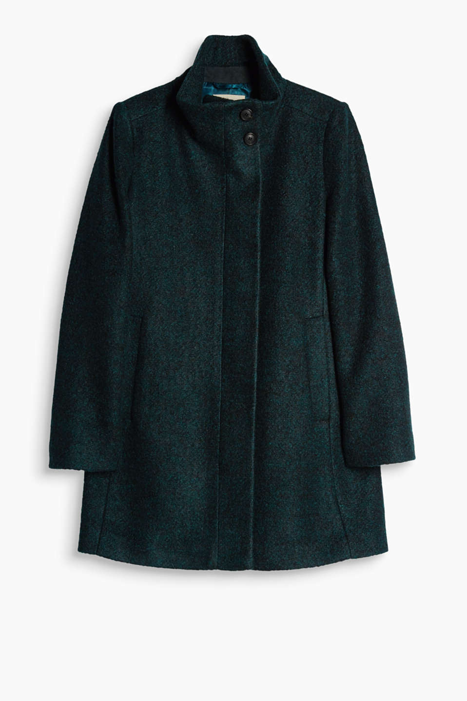 Warm and versatile: this fitted bouclé coat in a wool blend is your top companion for everyday wear!