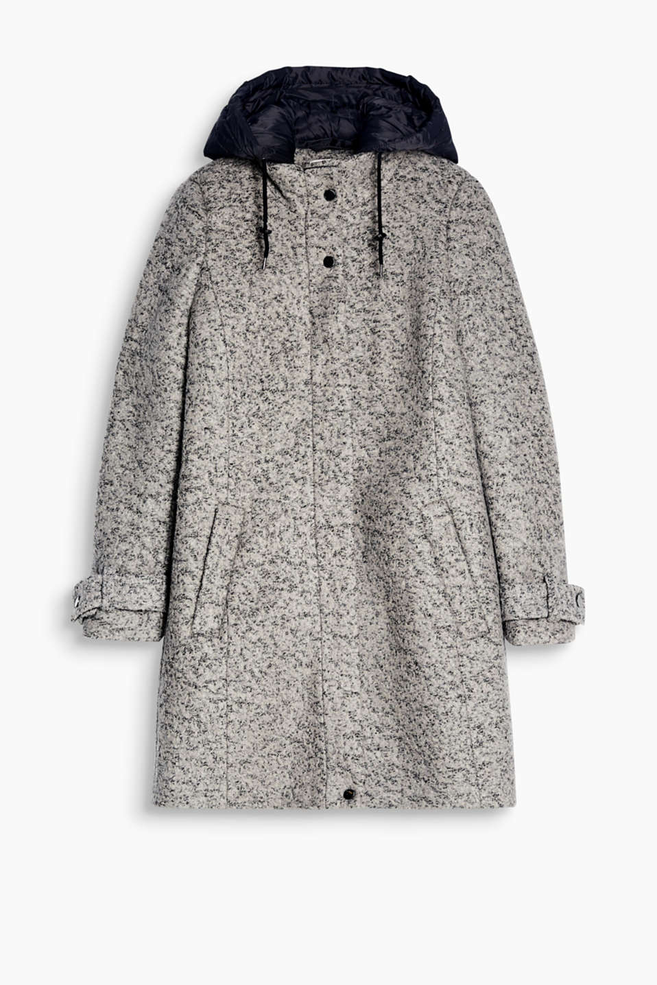 One coat, two looks: this bouclé coat with a detachable, quilted hood can look sporty one minute, chic the next!