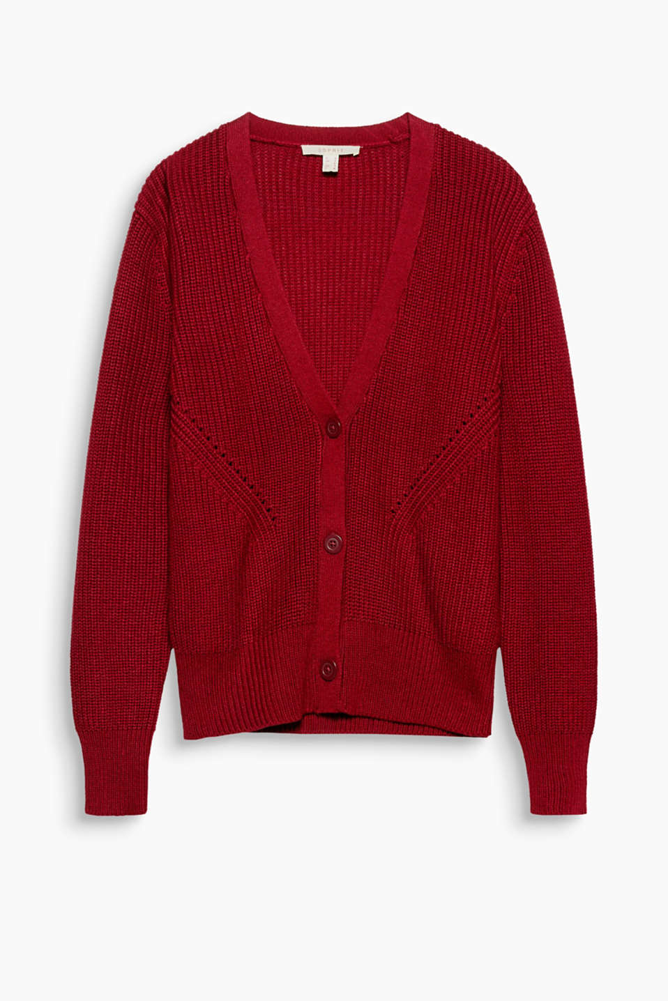 This soft, shape-retentive cardigan in a chunkier knit has decorative shaping effects that give it a stylish kick