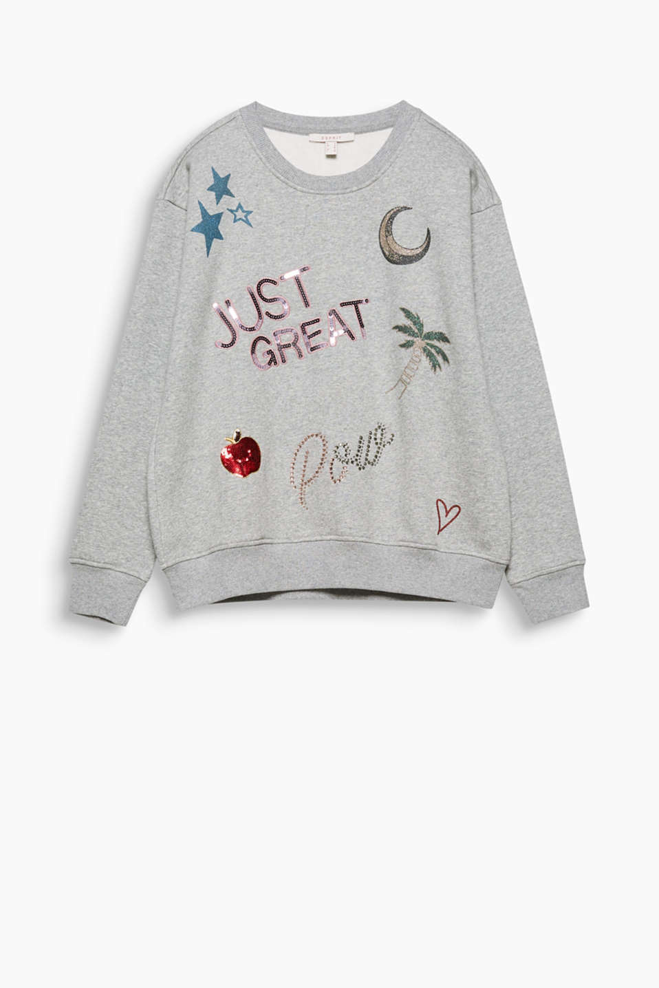 Glamorous casual wear: ultra soft sweatshirt, brushed on the inside, with sequins, rhinestones and glittery prints