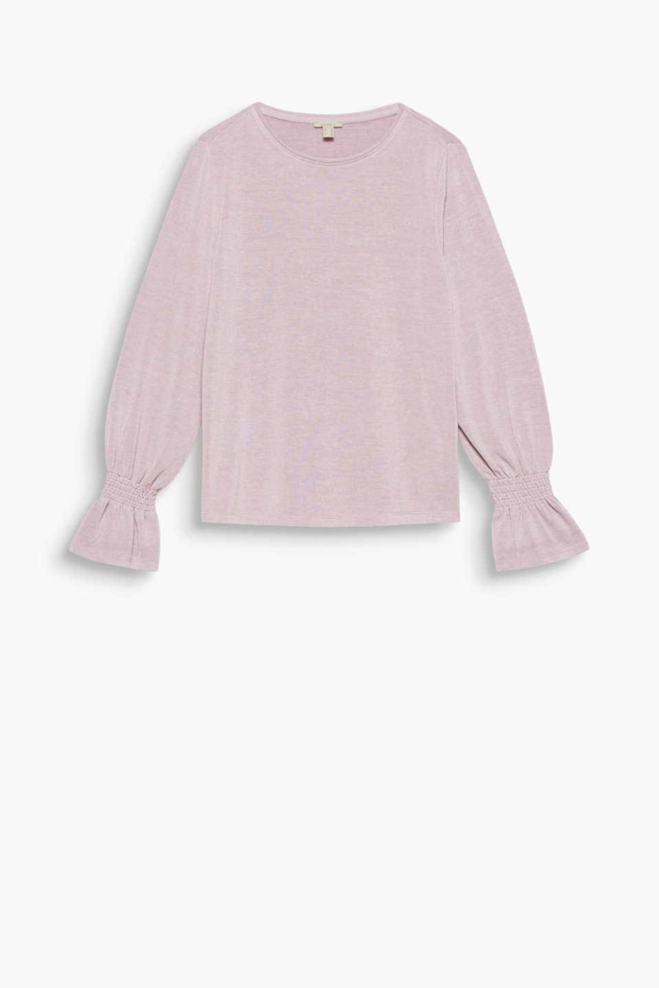 Pretty sleeve varieties create feminine flair: Long sleeve top with stretch and romantic flounces