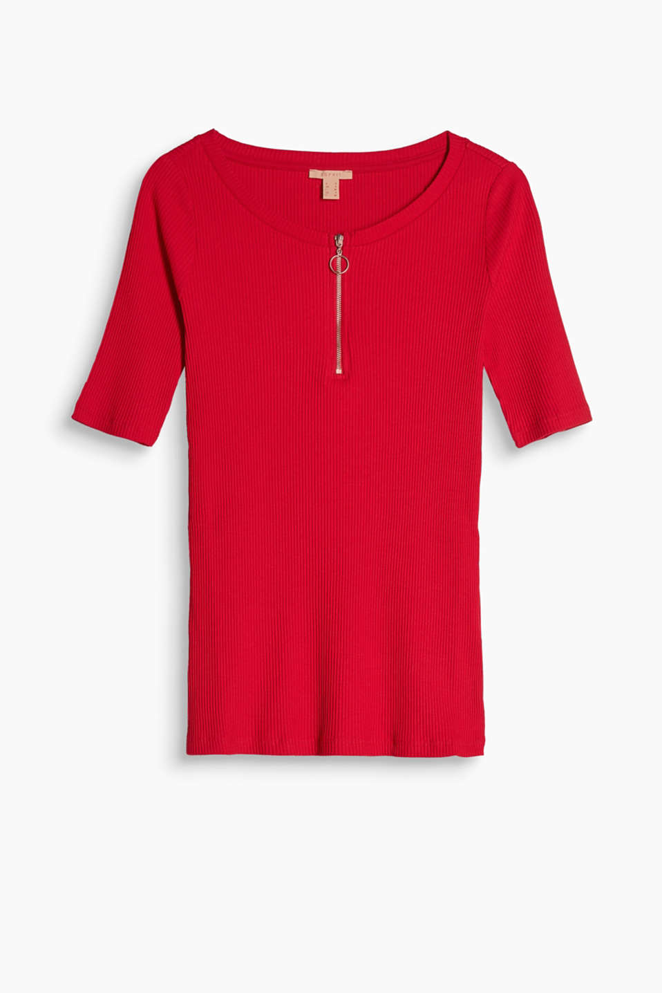 Snug, zip neck ribbed T-shirt made of comfy stretch cotton