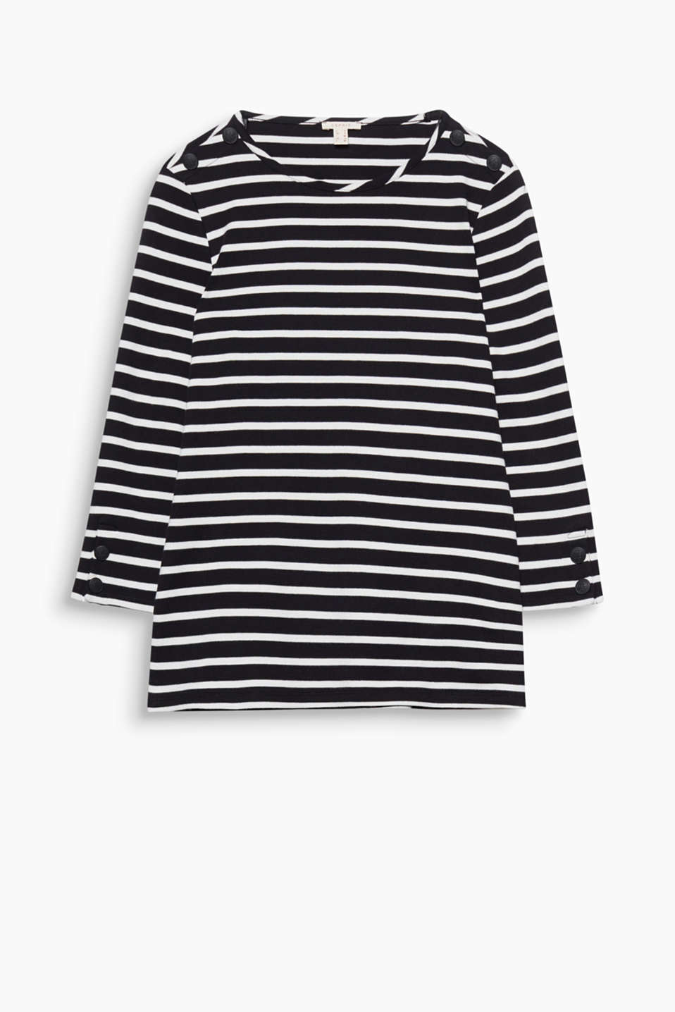 Fitted striped top with bateau neckline, shoulder buttons + 3/4-length sleeves in heavy jersey for a new nautical look