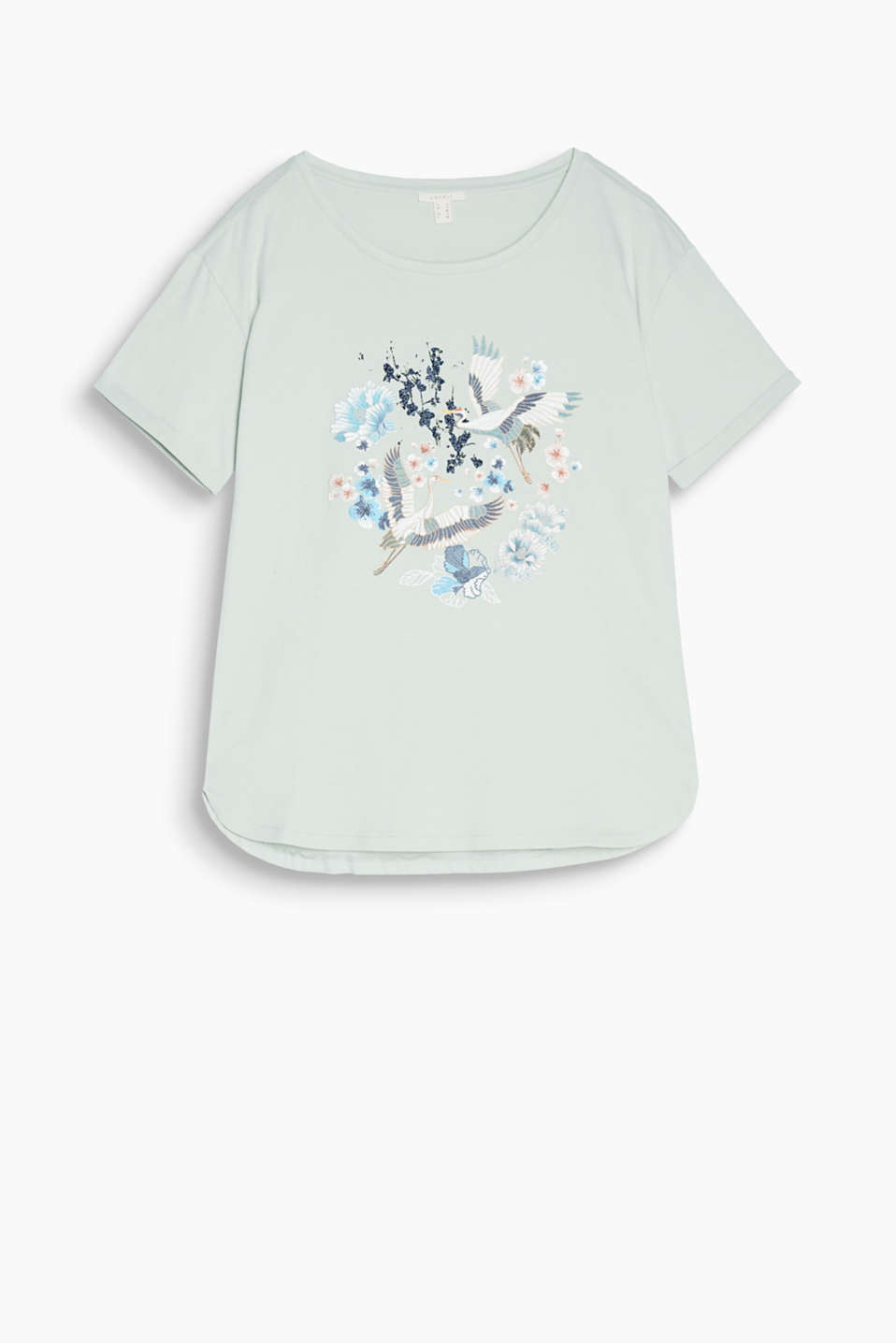 An Asian twist: this casual cotton top boasts an Asian front print and glitter effects
