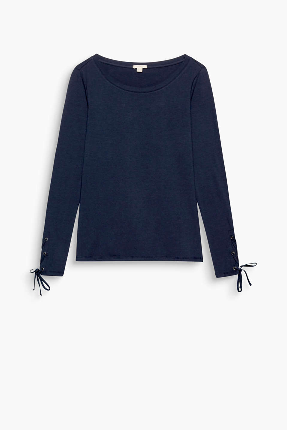Lavishly laced: fitted, stretch cotton long sleeve top with sophisticated sleeve ends