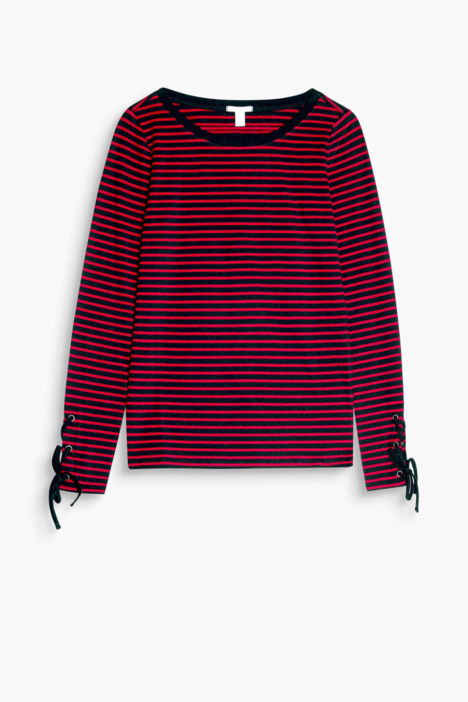 Striped and laced-up: fitted, stretch cotton long sleeve top with a generous neckline