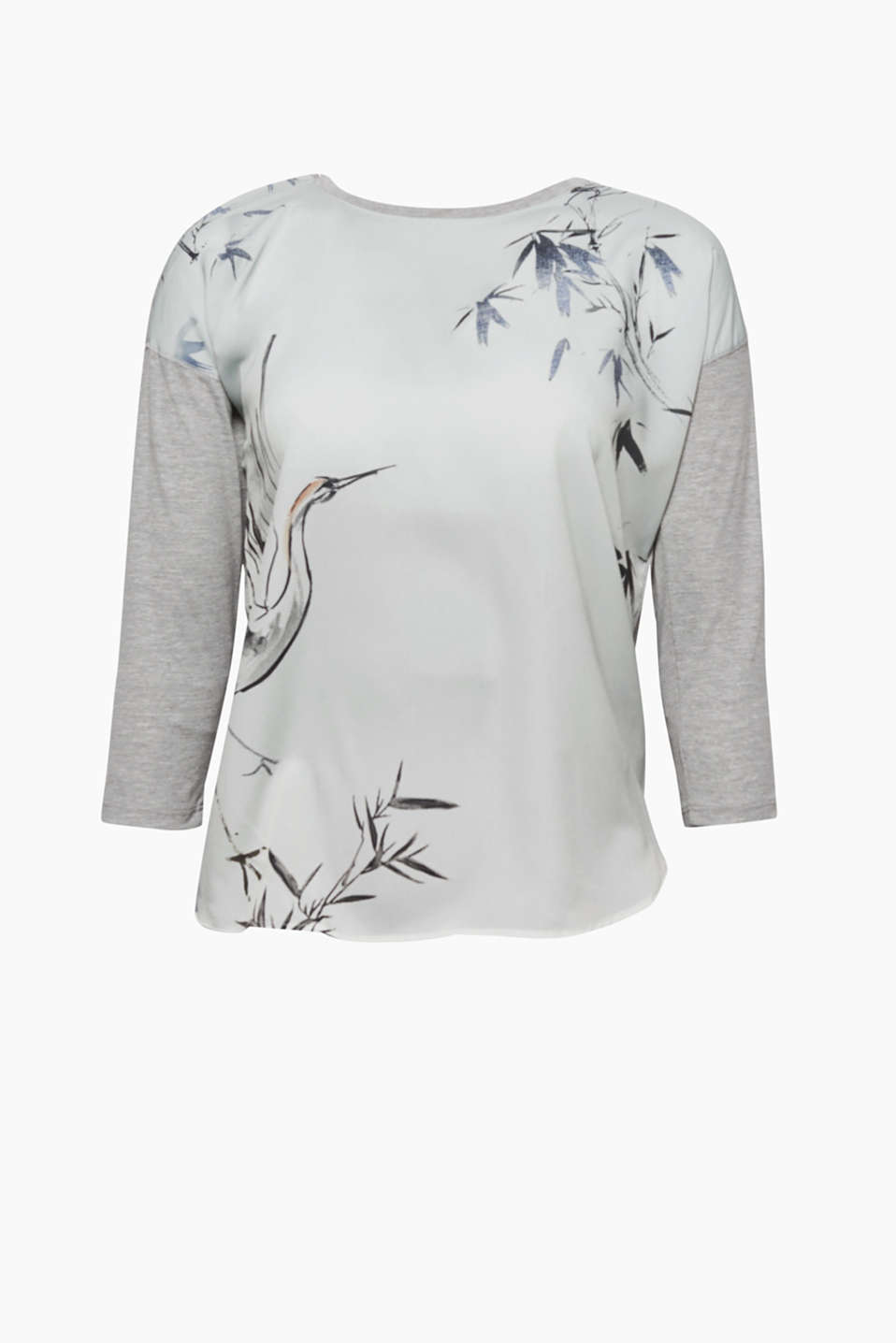 Heres your new favourite shirt: in an Asian style, made from a mix of materials and with a decorative print!
