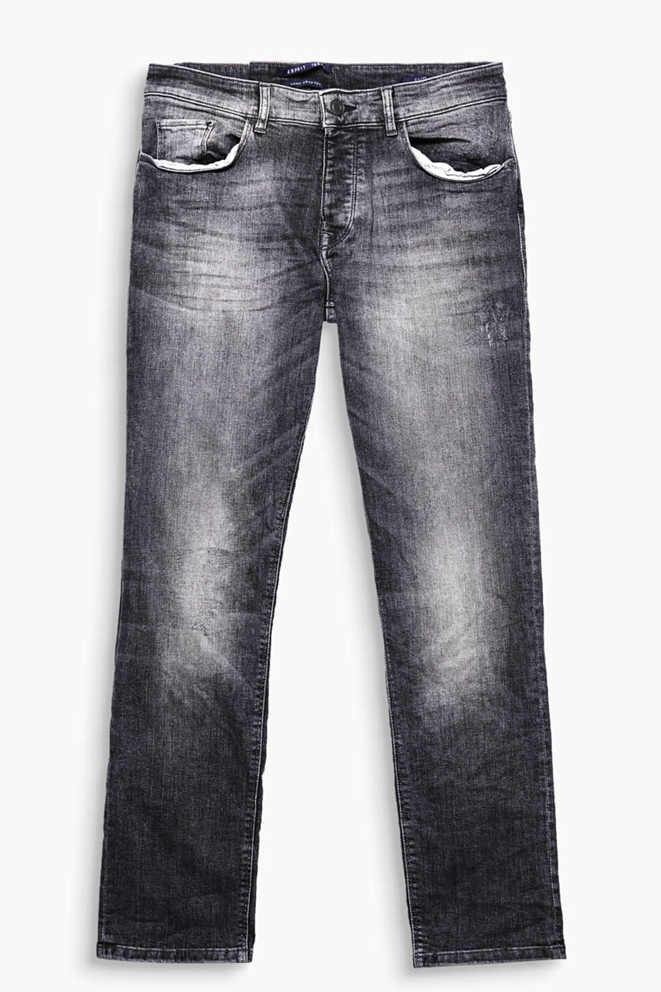 Denim Heritage! Autentiske 5-pocket-jeans med forvaskede og destroyed-effekter