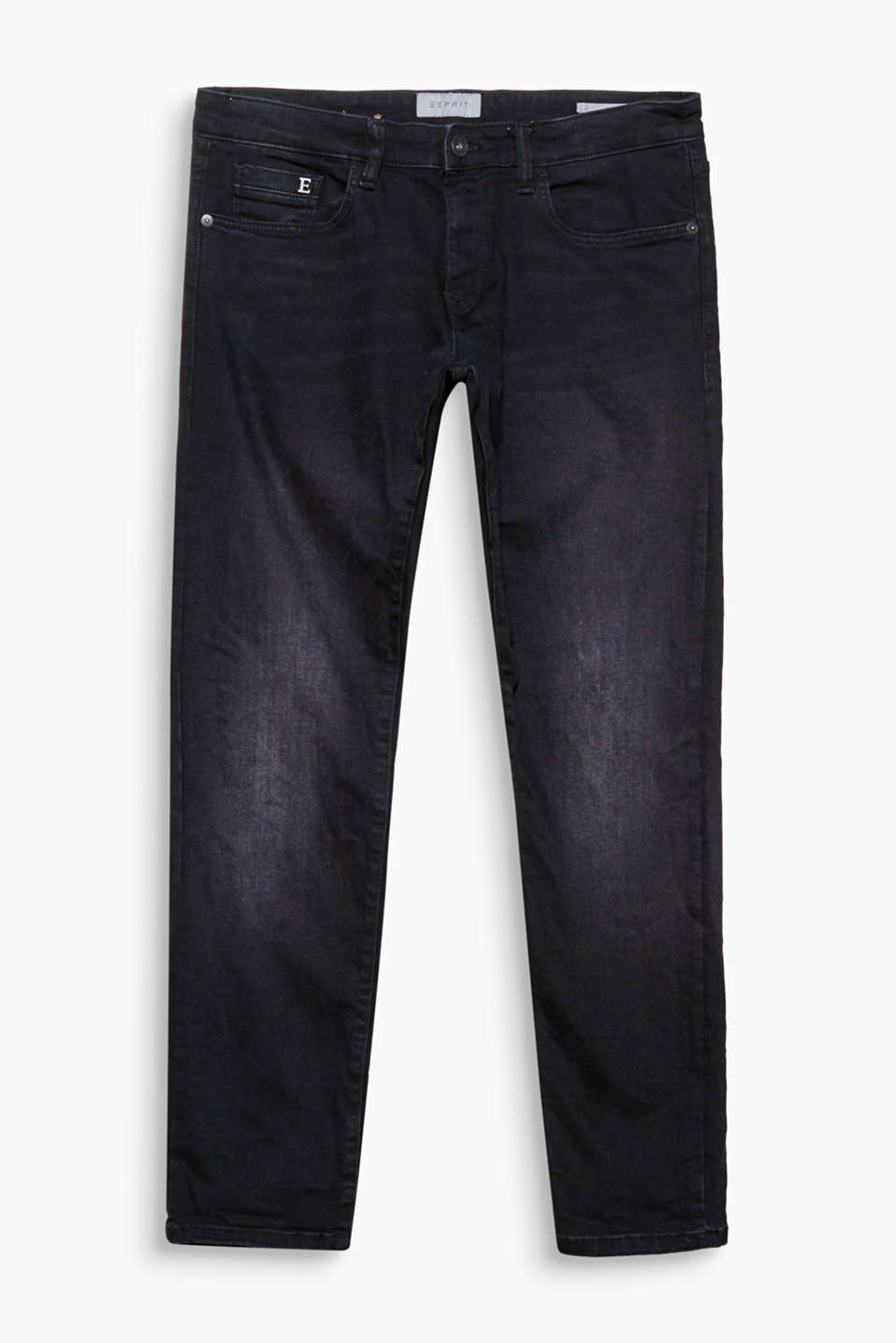 These have the makings of an everyday favourite: black stretch jeans in a five-pocket style in a slim fit with a metal E