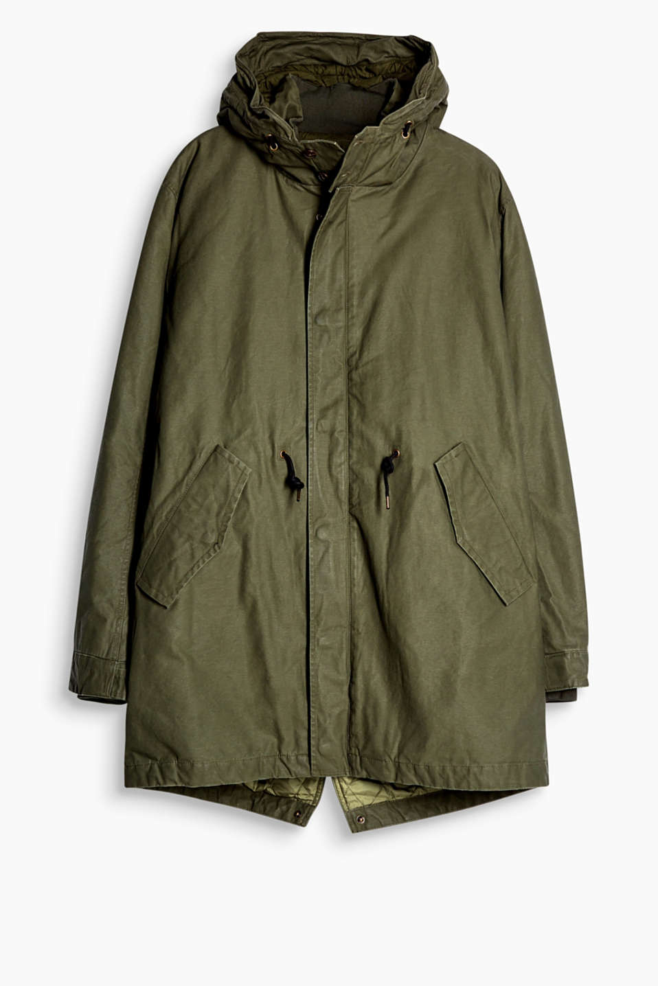 An outerwear classic! The hood and unobtrusive detailing make this long parka stand out from the crowd