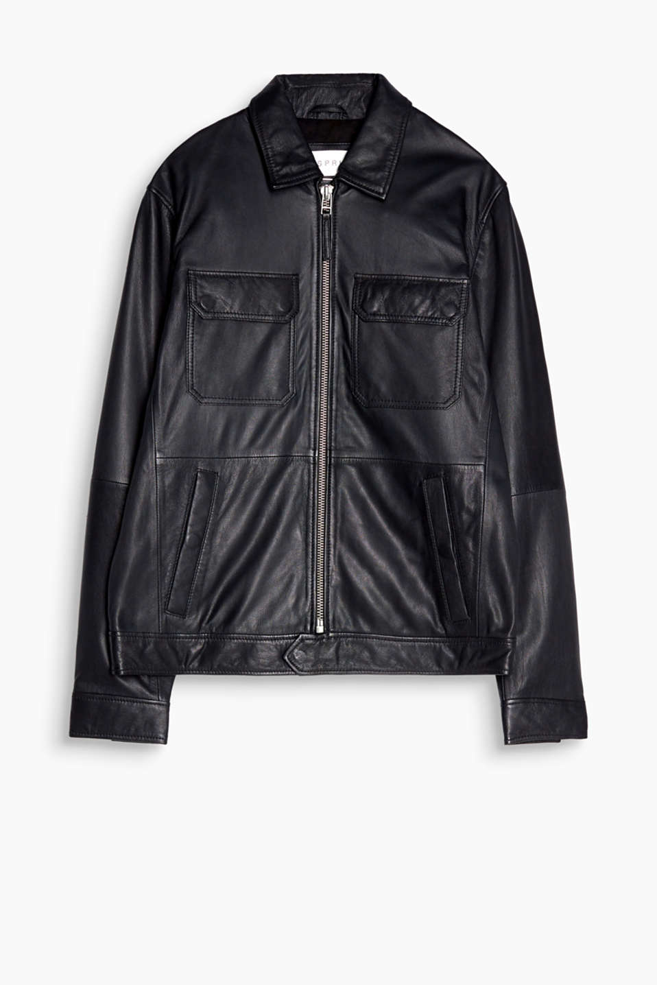 A high-quality fashion essential! This sporty leather bomber jacket features understated details.