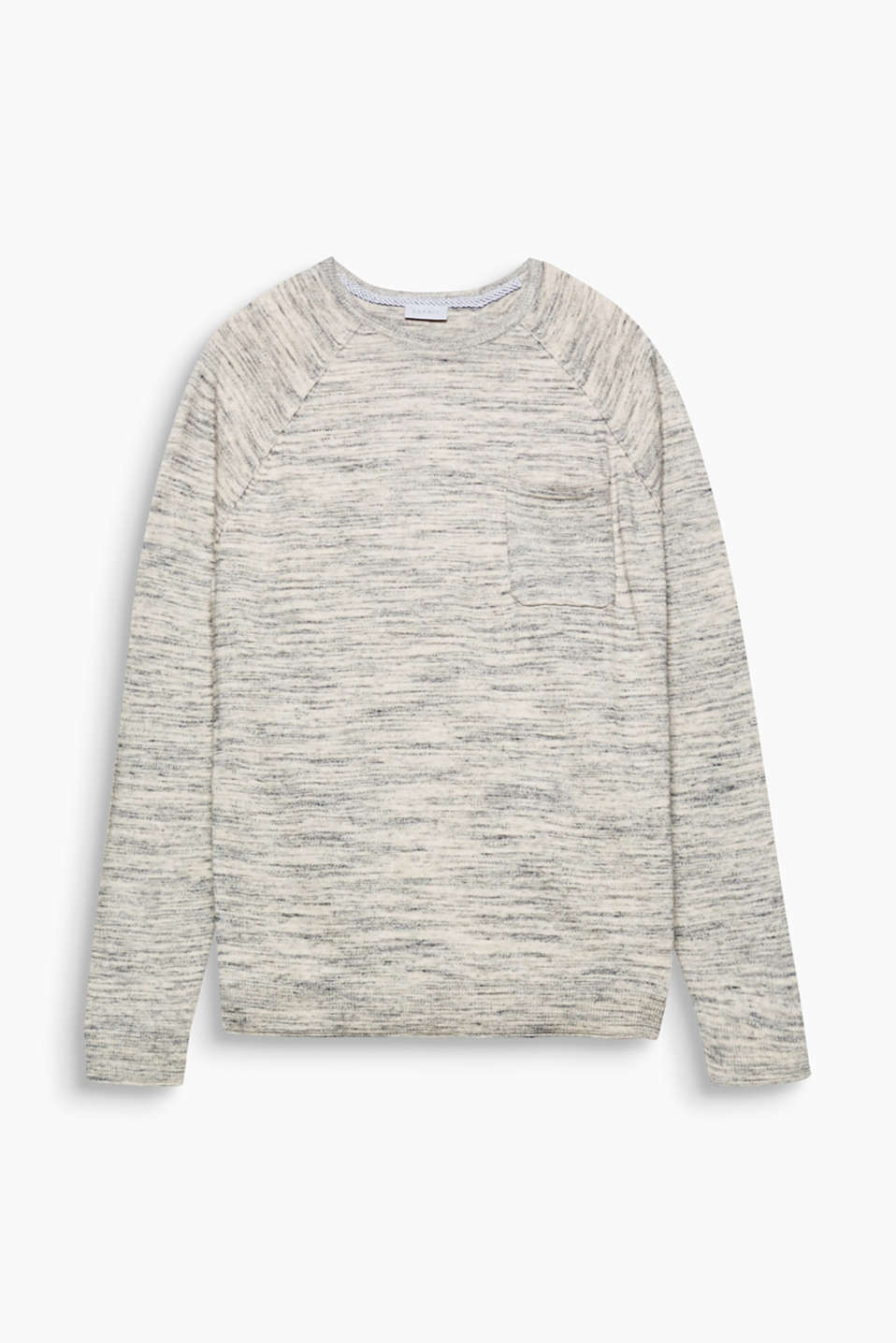 Modern knitwear! A melange finish and small breast pocket make this jumper a modern knitwear update.