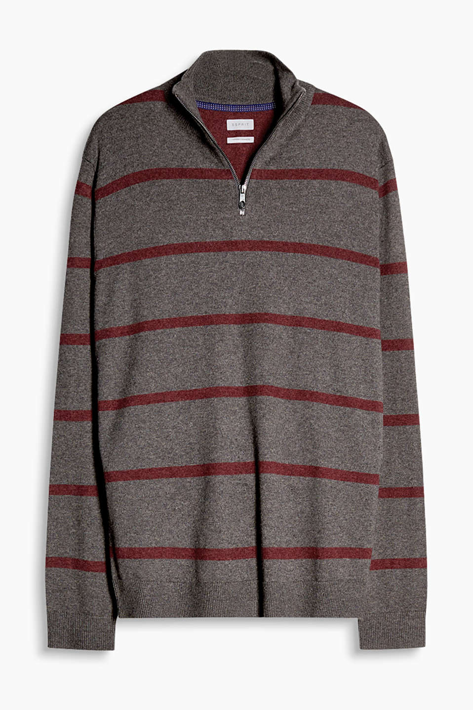 The stand-up collar with a zip on this jumper makes it a head-turning piece in a warm blend of cotton and cashmere