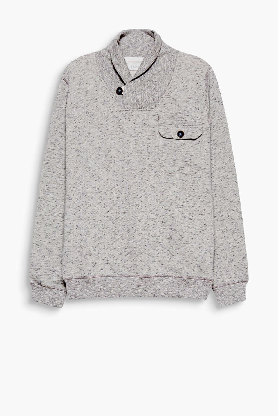 Sporty with a distinctive twist! The snug shawl collar and cool details make this sweatshirt absolutely awesome.