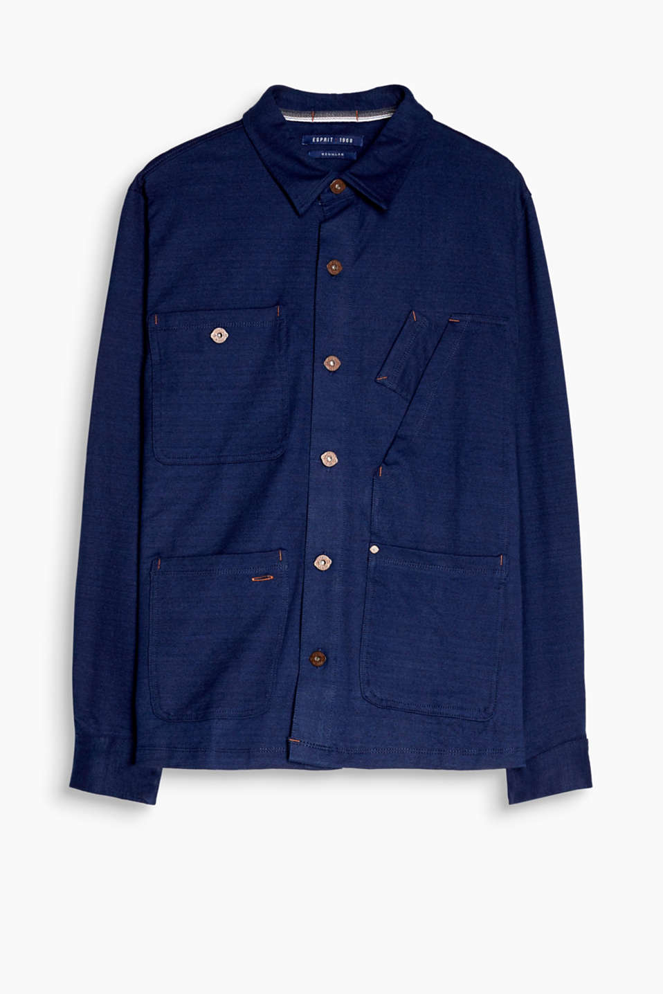 Workwear-inspired! The heavy jersey and high-quality indigo dye make this jacket bang on trend.
