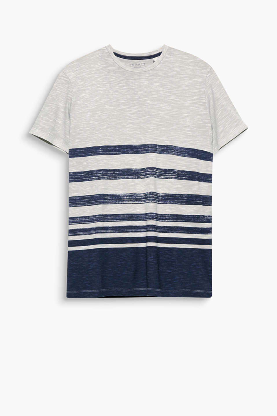 Casual slub T-shirt with a fine texture in pure cotton with positioned stripes