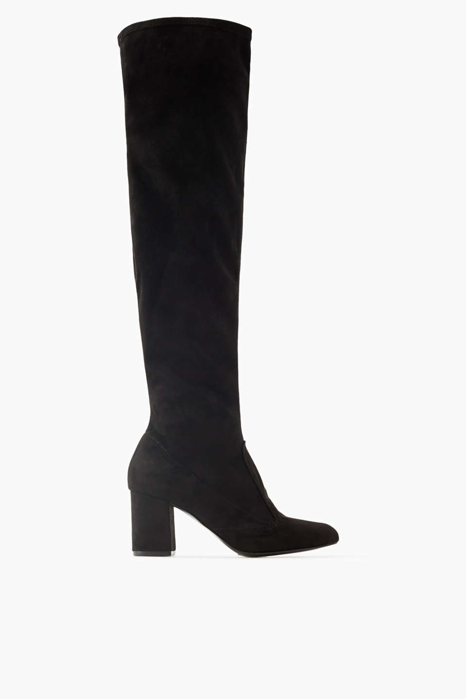 These velvety over-the-knee boots with stretch for comfort and a block heel are sexy and super comfortable!