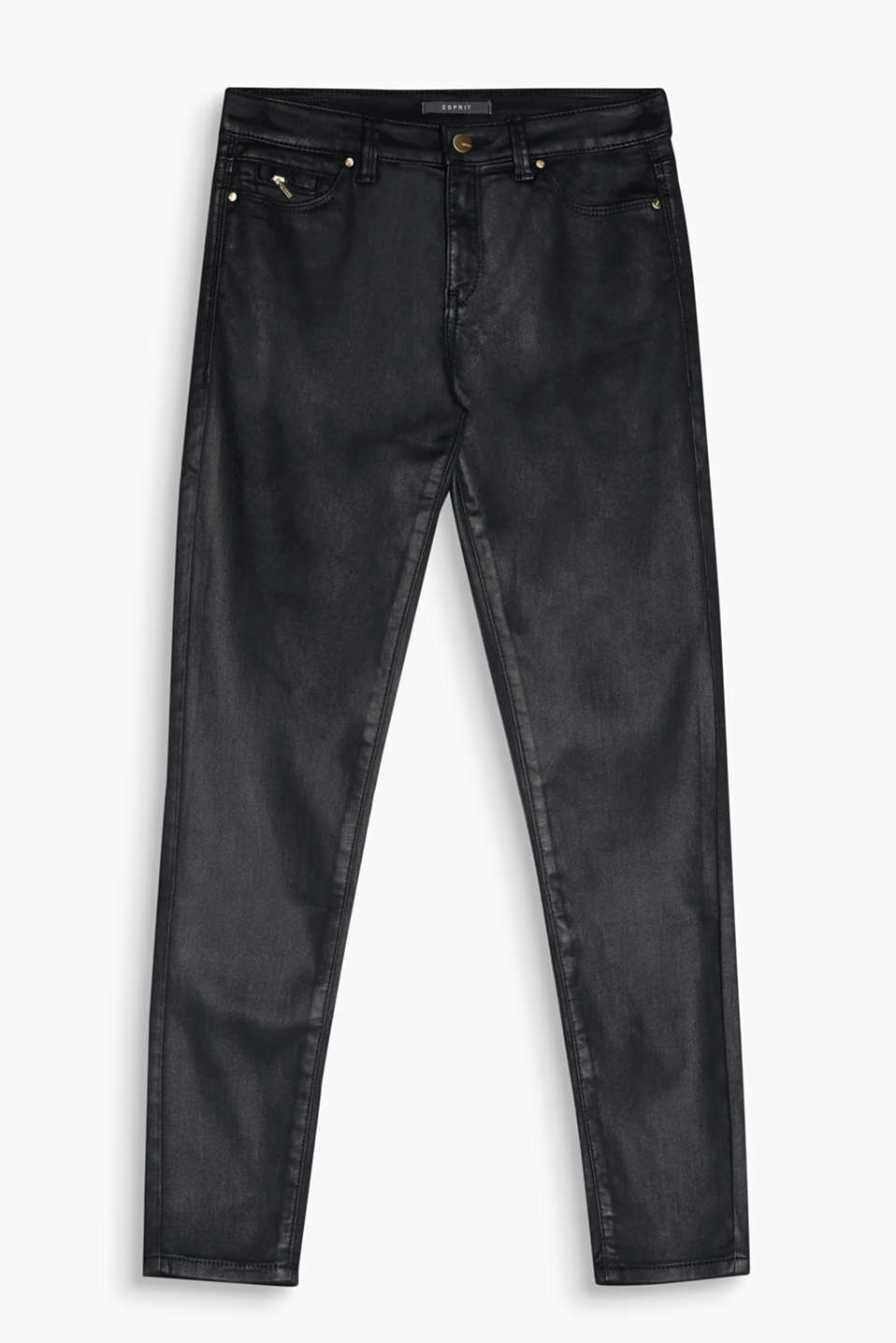 Push-up effect for the bum: these slim-fitting, coated stretch jeans with a lift-up effect create a sexy, skin-tight look!