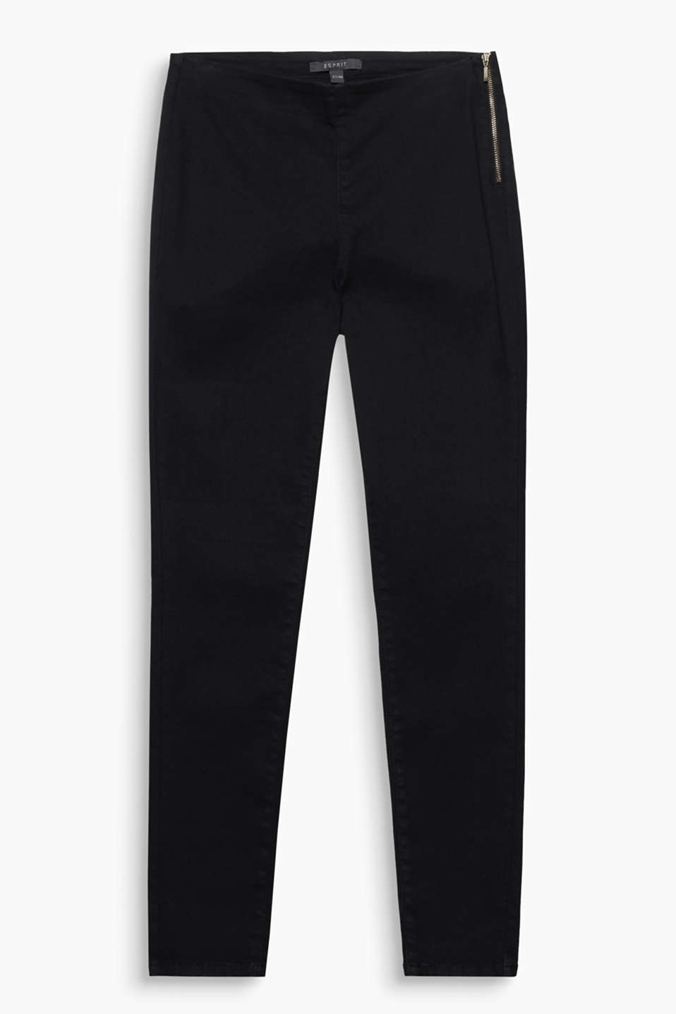 Skinny, lovely, stretchy: modern trousers in a slim fit with a zip on the side of the waist