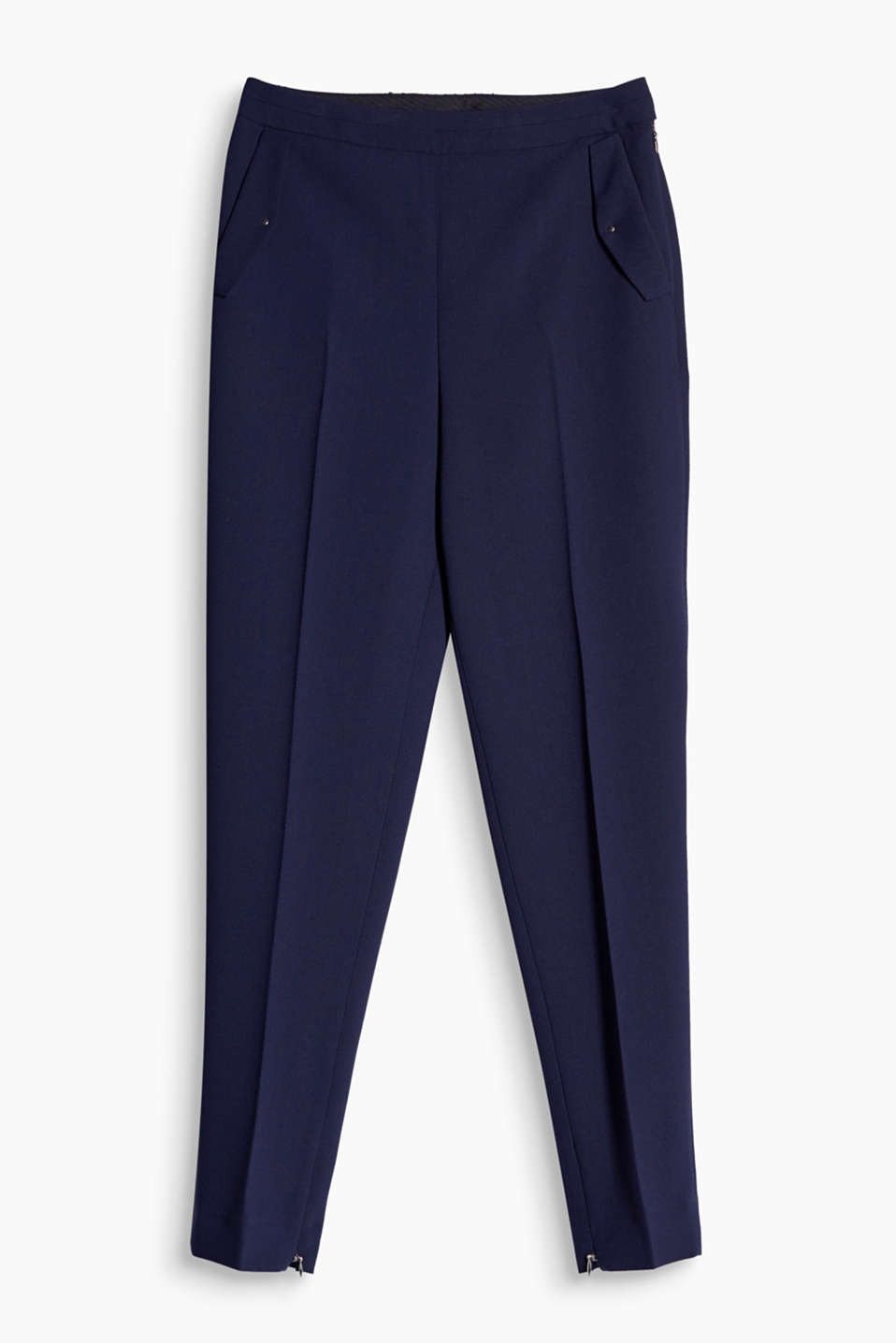 Modern business look: these crêpe trousers are high-waisted and have cropped legs with hem zips!