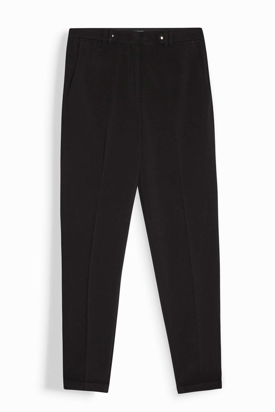 These business trousers look so new and modern with a cropped leg and waist straps!