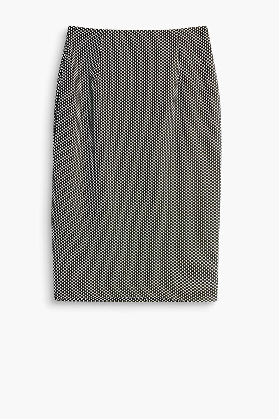 Sensationally slim-fitting and super comfortable: this pencil skirt with a dot texture is a perfect comfy business piece!