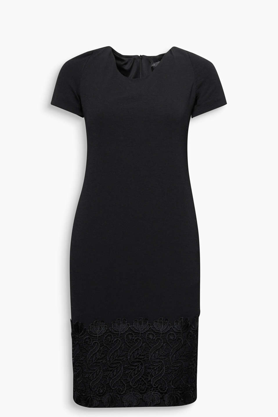 Save the best for last: chic jersey sheath dress with a deep lace trim around the bottom hem