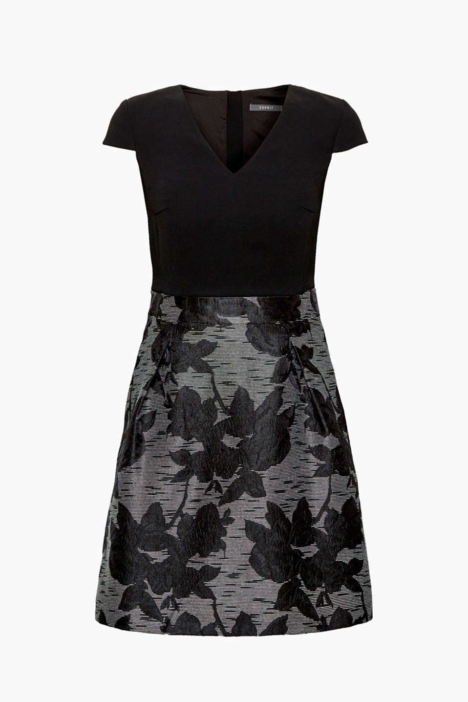 This flowing dress with luscious jacquard flowers on the wide skirt is a gem for formal occasions