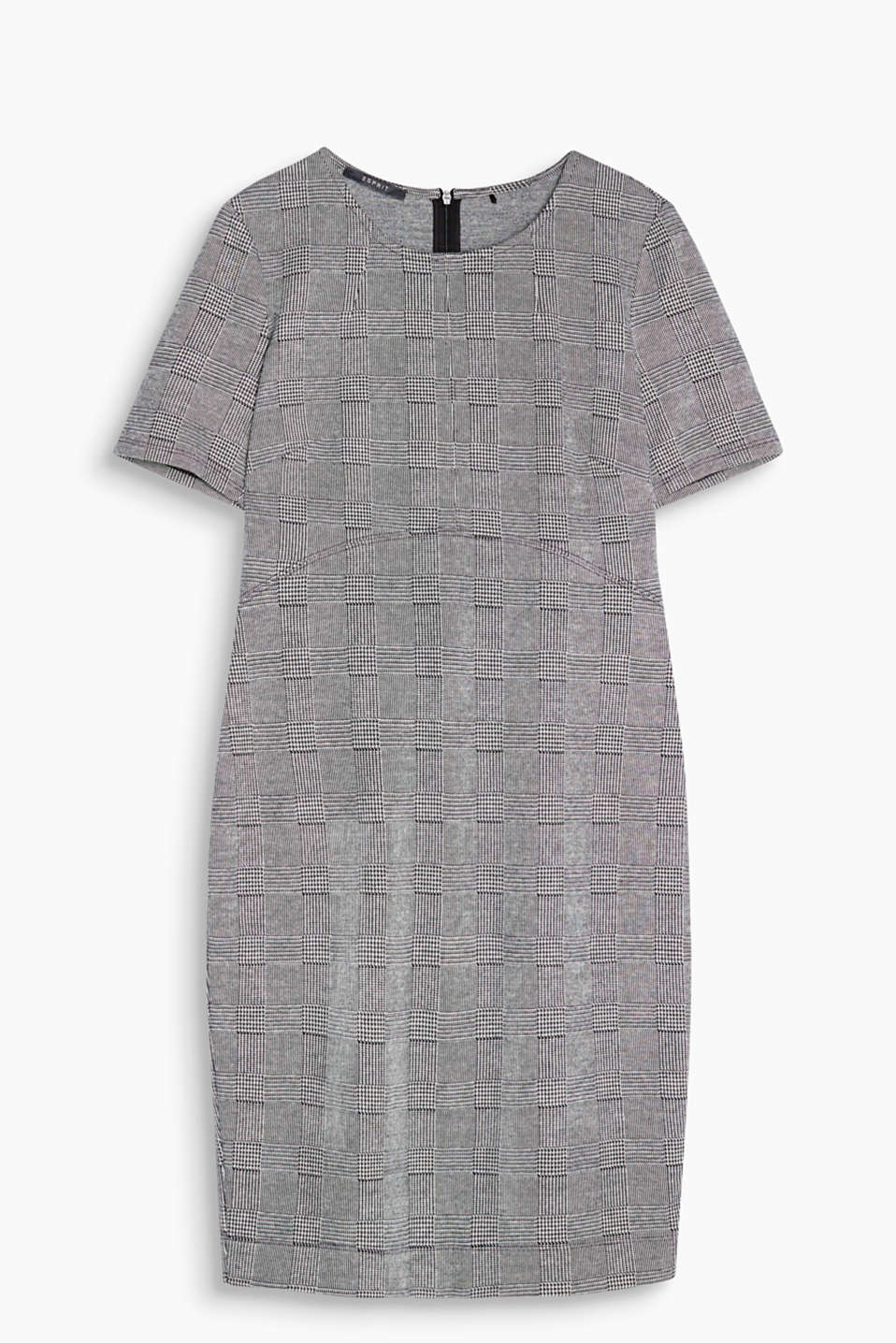 Masculine checks versus feminine cut: fitted, stretch cotton shift dress with Prince of Wales checks