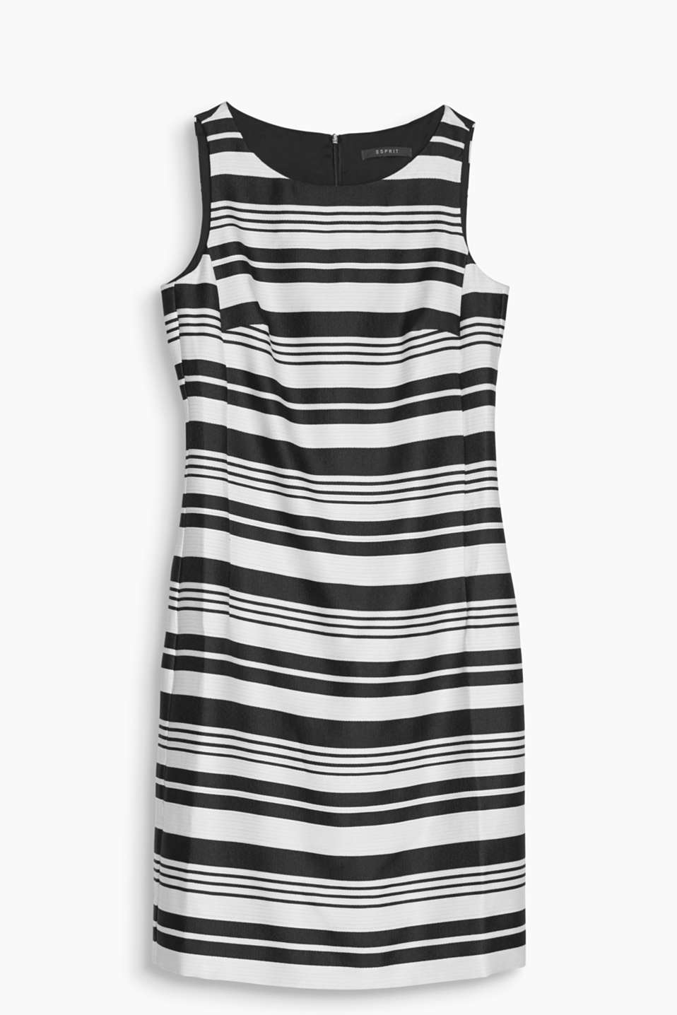 A timeless treasure with retro charm! Its cool striped pattern makes this fitted shift dress something special.