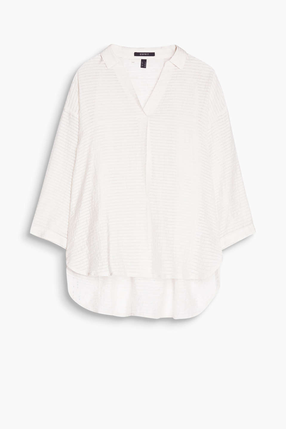 Lightweight, casual blouse with sheer stripes and batwing sleeves in a cool linen blend