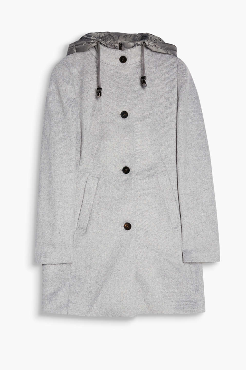 An attached hood and front section filled with down give this soft blended wool coat its new look!