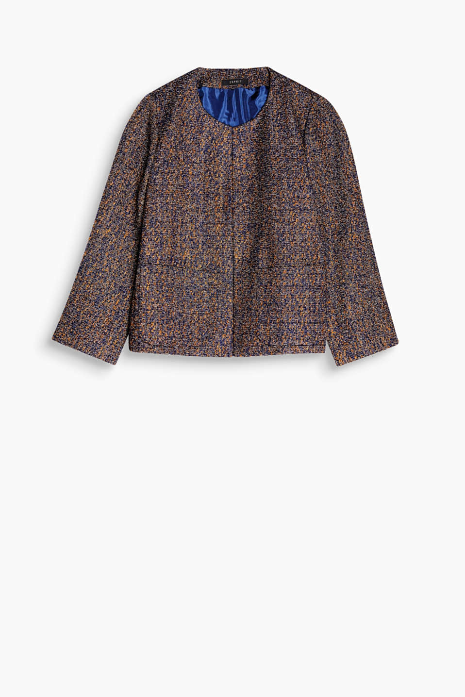 Casual chic: subtly shimmering, A-line bouclé jacket with patch pockets