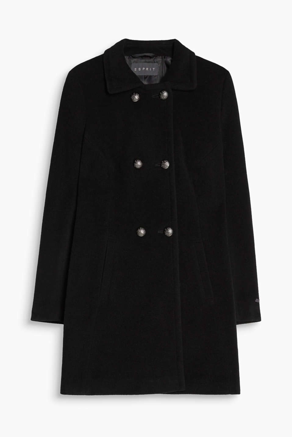 Military-look with a luxurious twist: coat with decorative crested buttons and exquisite cashmere