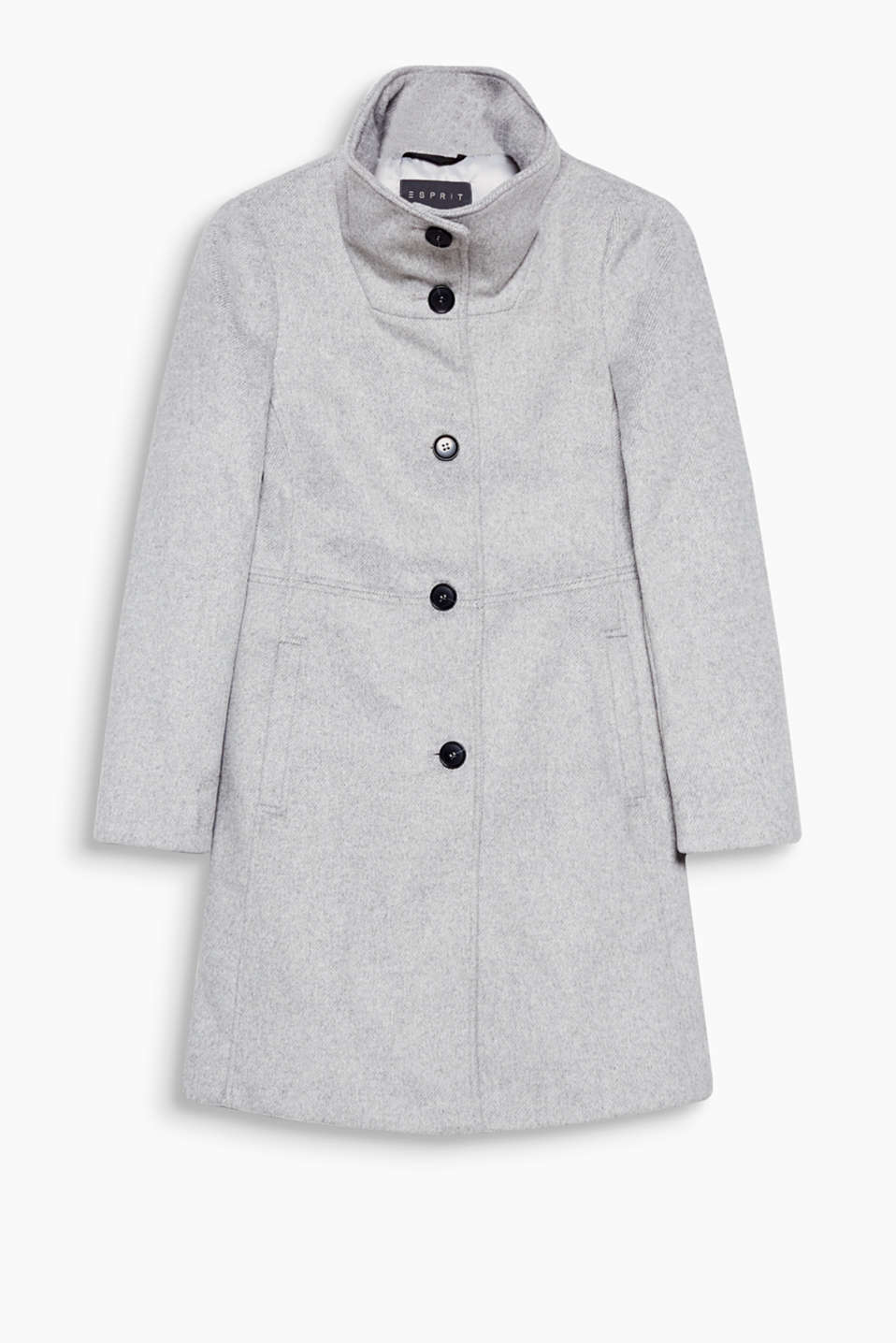Autumn with a feminine touch – fitted wool blend coat with an on-trend high collar!