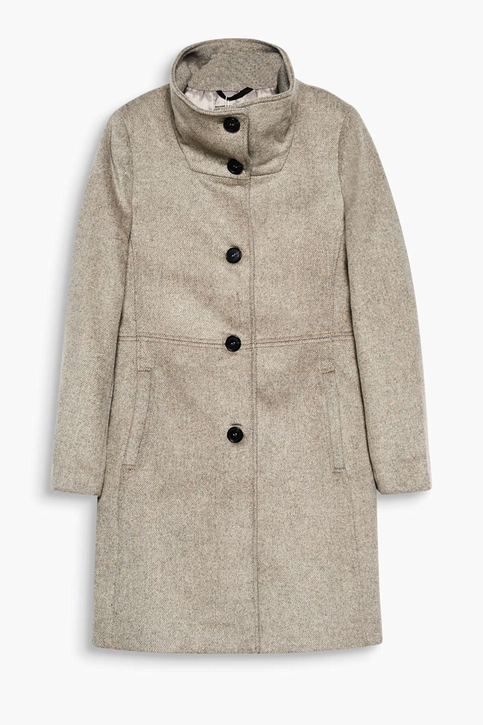 An exquisite companion for mild winter days: fitted coat in melange blended wool