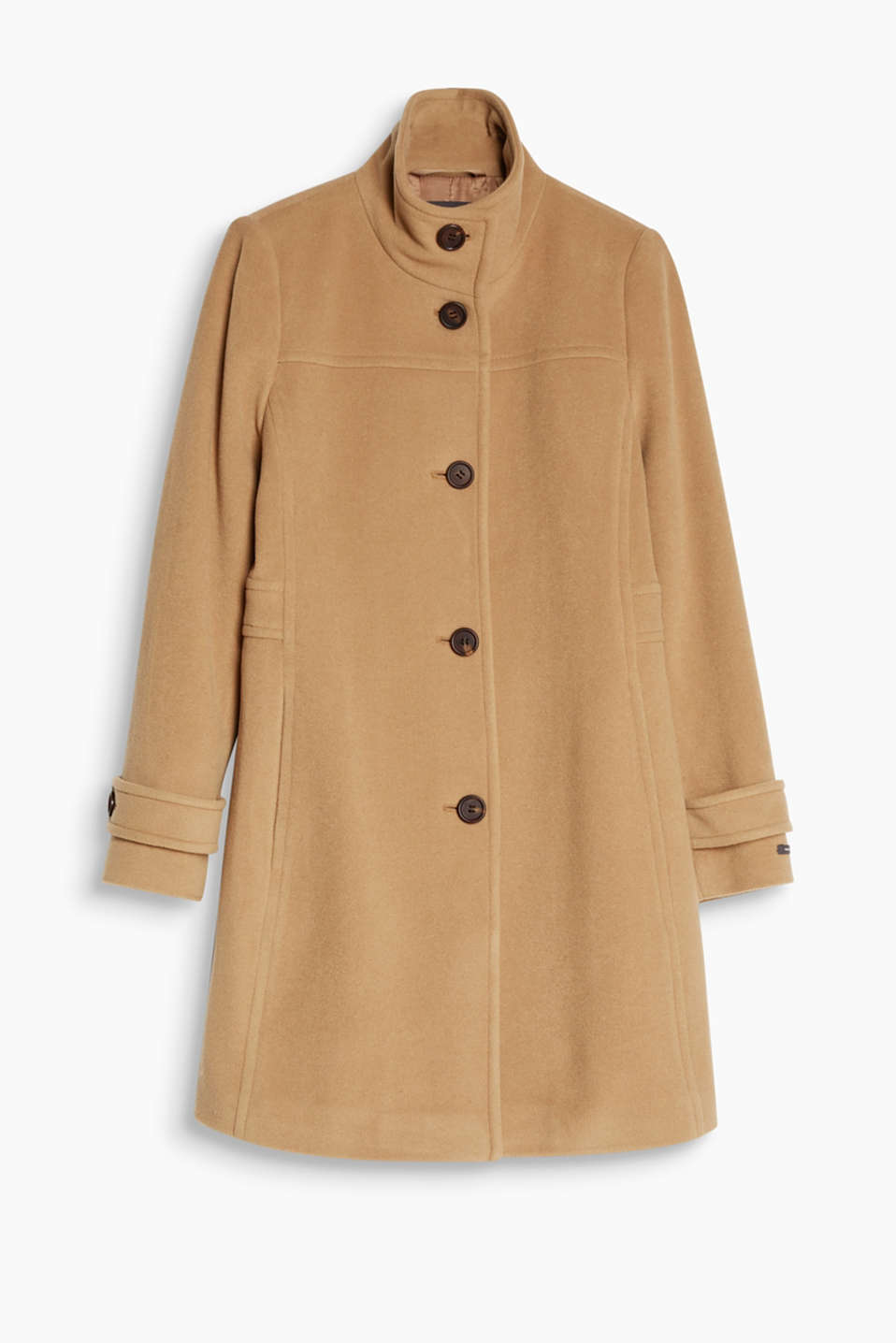 Versatile classic: this slightly fitted, stand-up collar coat with exquisite cashmere has got your back wherever you may go!