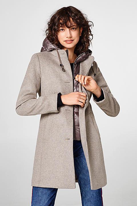 Smarter Woll-Mantel mit Daunen-Details