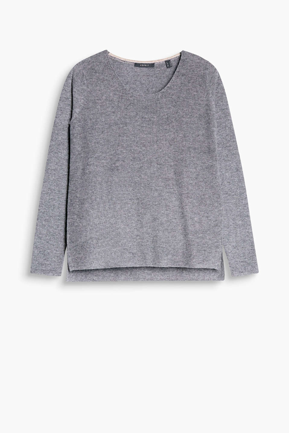 Casual jumper in elegant blended cashmere with a finely ribbed front section and a high-low hem