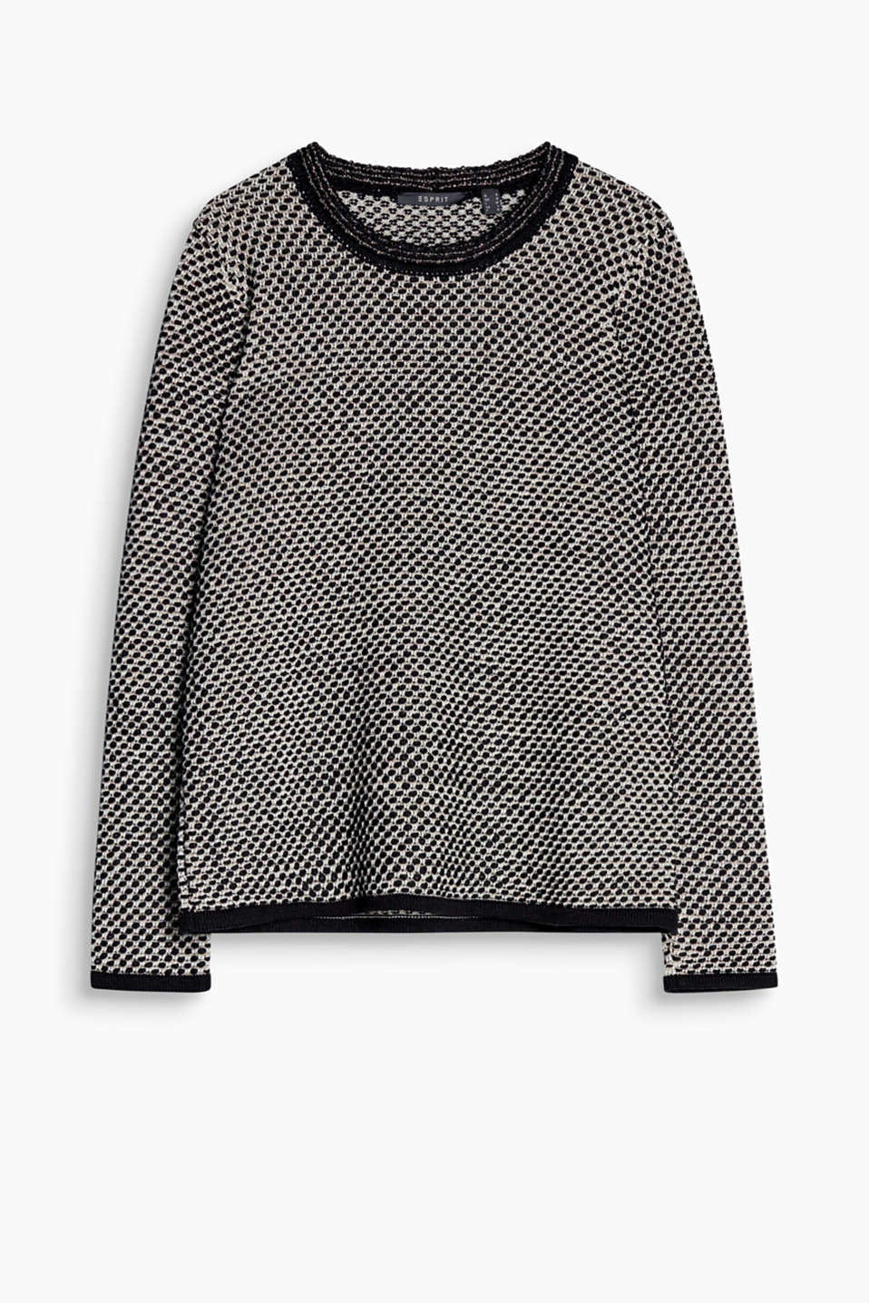 Luxurious fashion just got super comfortable: textured lurex jumper made of soft blended cotton in a casual cut