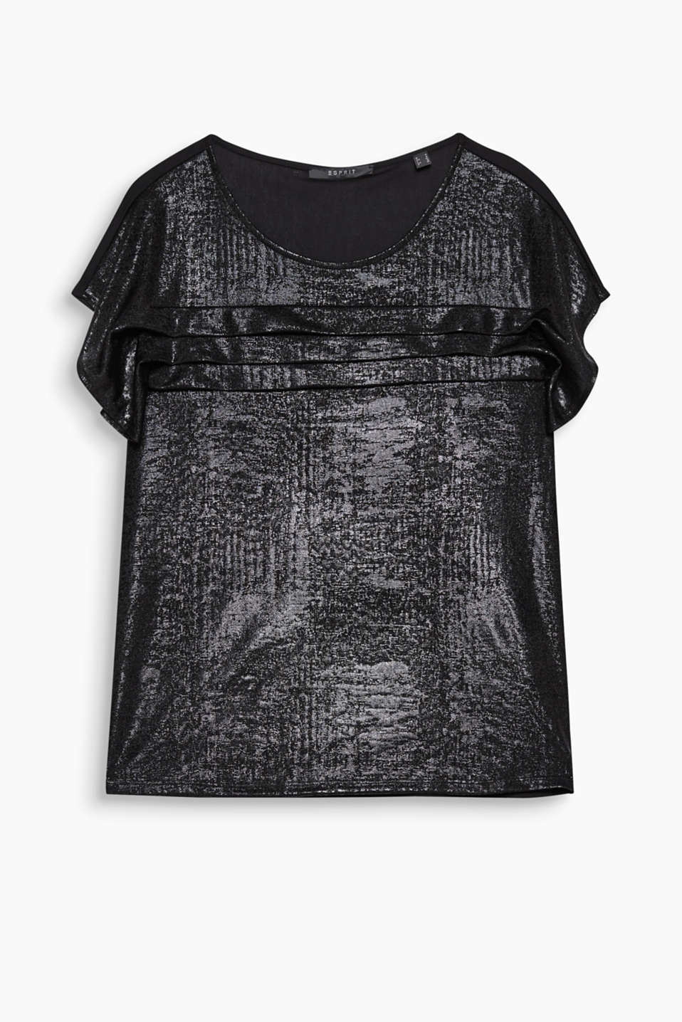 Simply brilliant: coated top with decorative pleat details for an edgy, glamorous look!