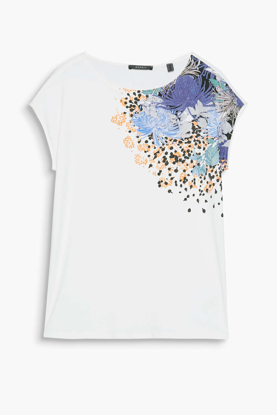Flowing, floral and feminine – this loose-fitting printed T-shirt with a glitter effect is very flattering.