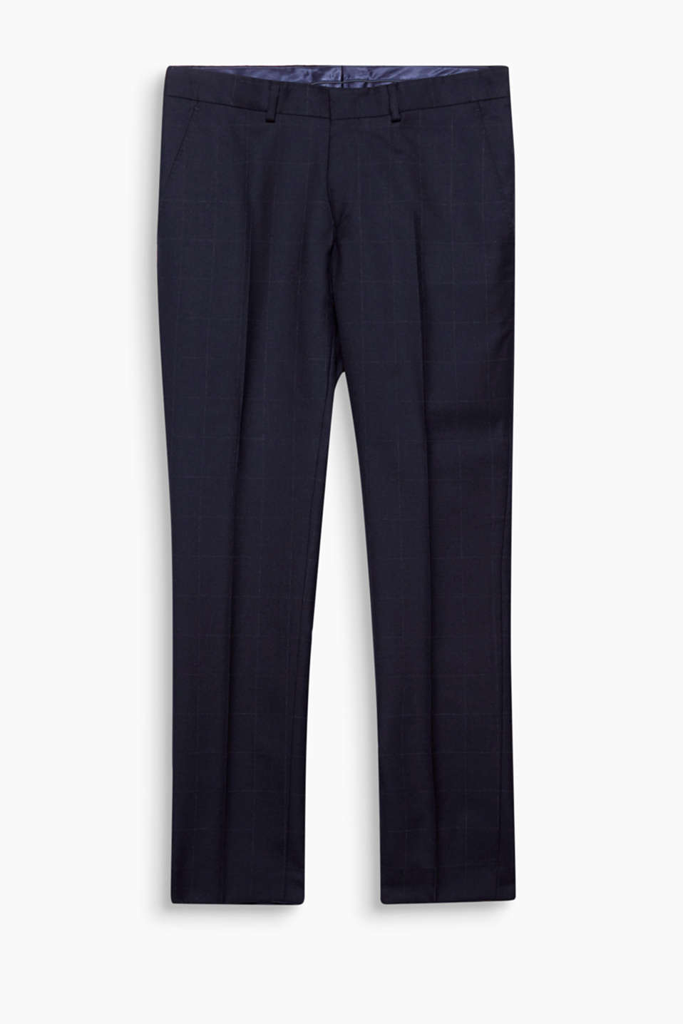 Suit up! The blended new wool and fine lattice pattern make these premium suit trousers something special.