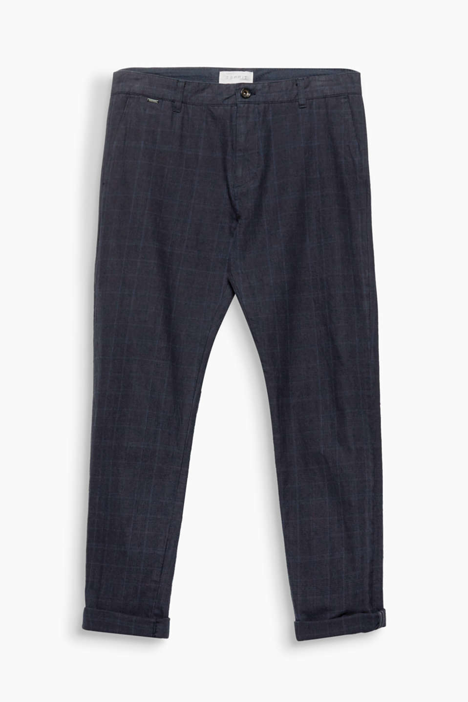 Prince of Wales check in a new look: cool cotton trousers in a slim fit and clean design