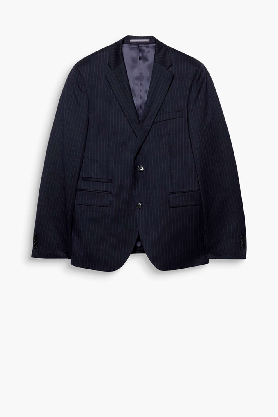 This chic jacket impresses with its pinstripe look and exceptionally fine wool blend