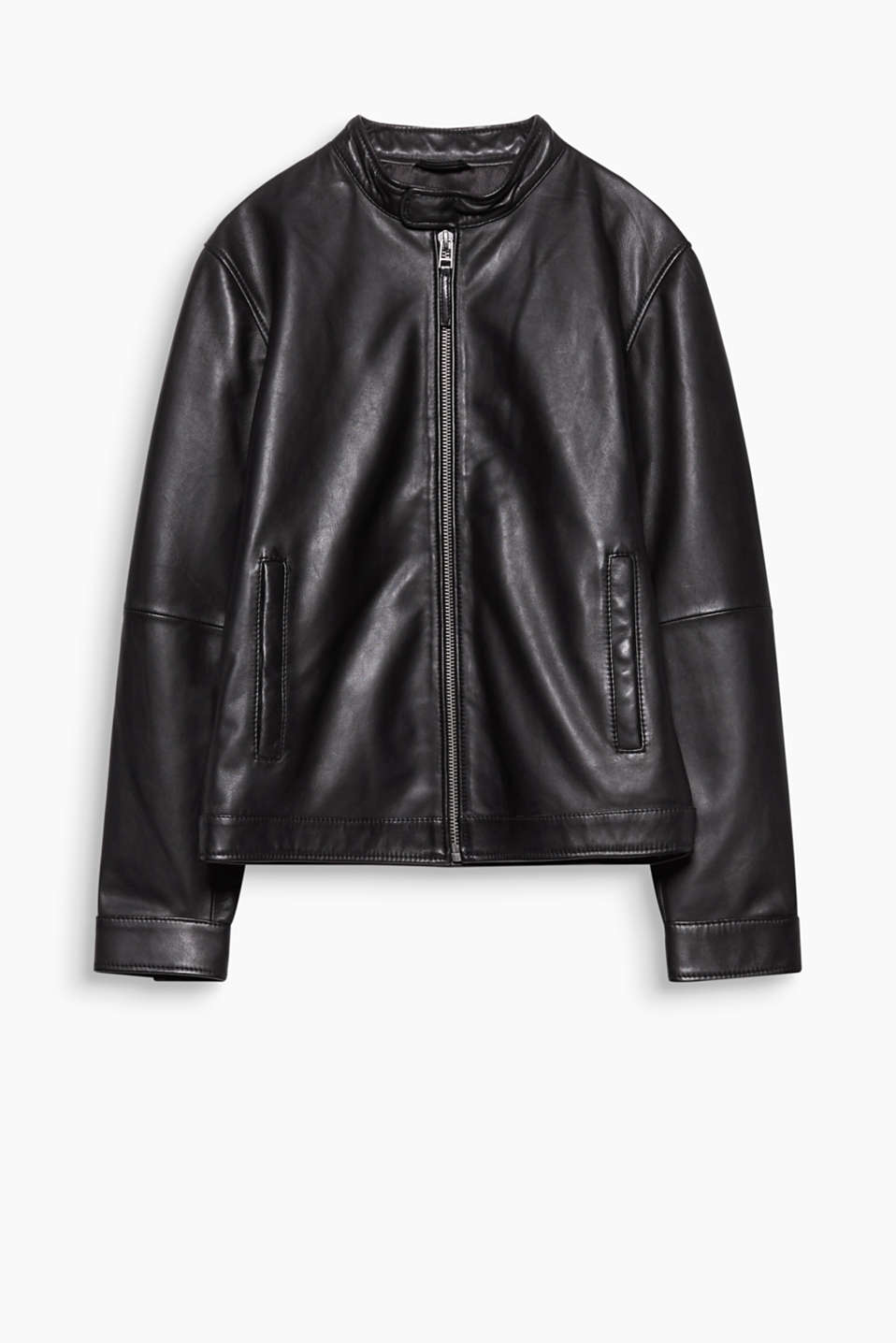 A high-quality fashion essential! This soft nappa leather jacket features subtle details.