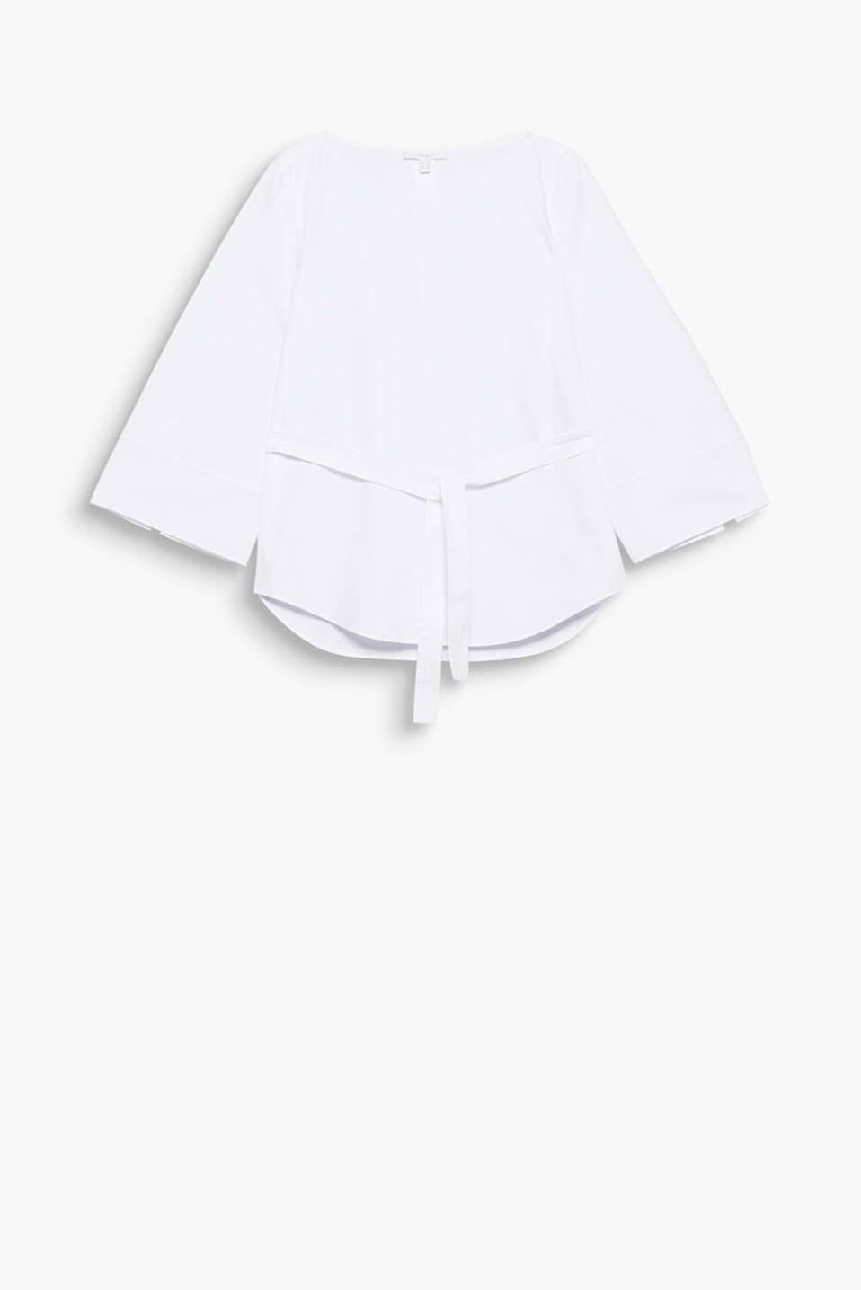 Understated, stylish and versatile: blouse in cotton poplin with an accentuated tie-around belt