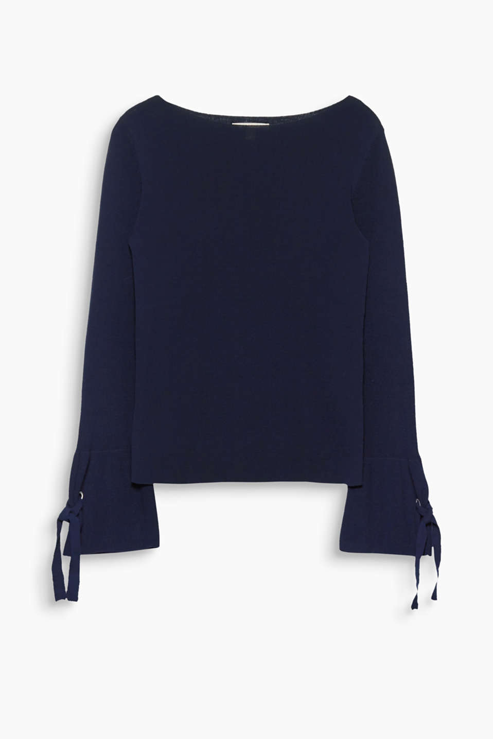 Trumpet sleeves add feminine flair! The bows on this cotton jumper take it to a whole new level!